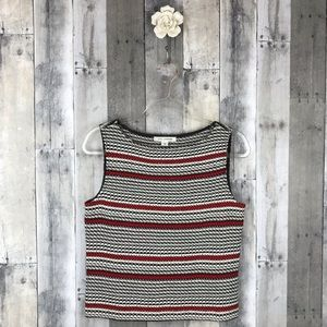 St John Wool Black & Red Striped Tank Sz Small EUC